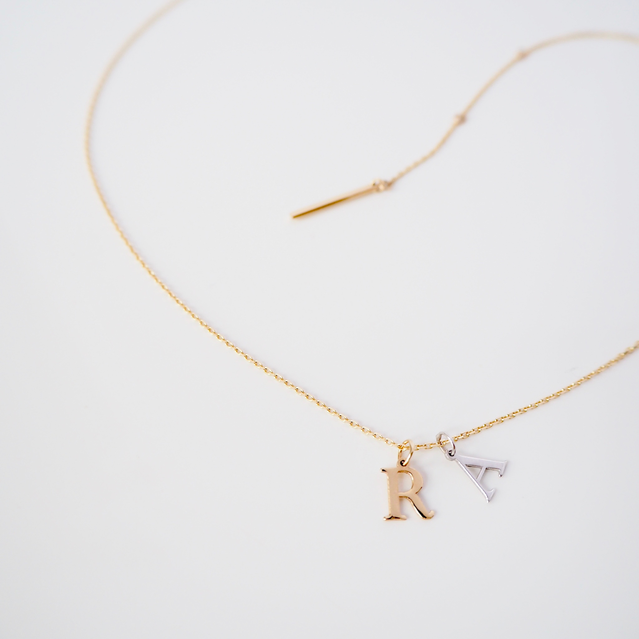 K18/ K14 Initial Charm Necklace